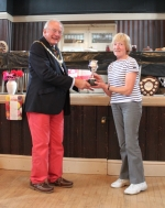 Jo & Graham get their prize from the Mayor - Byfleet show 2012