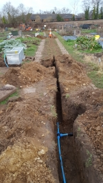 Top road pipe trenching